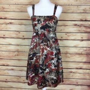 Kensie Marbled Silk Dress Sleeveless Tan Red Small